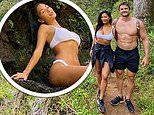 Nicole Scherzinger, 42, wows in a white bikini as she cuddles up to hunky beau Thom Evans, 36