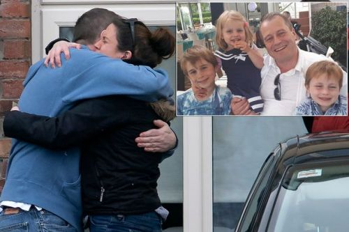 Devastated dad returns to home where his three children's bodies were discovered