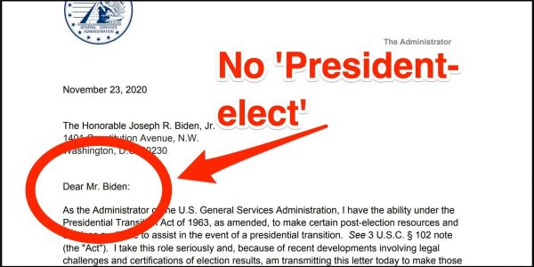The letter enabling Biden's transition goes to extreme lengths to avoid saying that he beat Trump and won the election