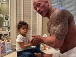 Dwayne Johnson teaches his daughter Tia how to wash her hands