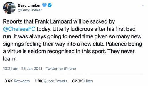 'They never learn': Gary Lineker responds to Chelsea FC's sacking of Frank Lampard