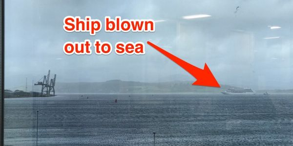People are stuck at sea on a cruise ship after massive storm winds ripped it from its moorings in Scotland