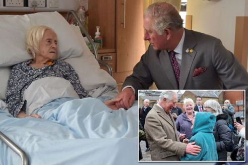 Prince Charles holds hand of hospice patient, 97, on visit to flood-hit Wales