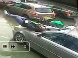 Moment helpful rabbi, 75, parking a Jaguar mows down two pedestrians and demolishes a pharmacy
