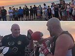 Tyson Fury puts on a show for the locals in Morecambe as he spars with his dad John