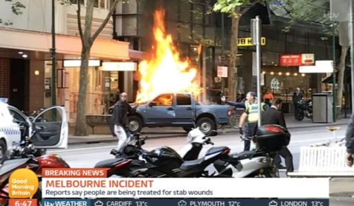 Man sets car on fire before stabbing three people and attacking cops in Melbourne