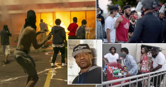 George Floyd death: Minneapolis protests descend into chaos with one man shot dead nearby as police fire rubber bullets from rooftops