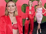 Olivia Wilde flashes lacy bra through scarlet silk suit at GQ Men of the Year Party