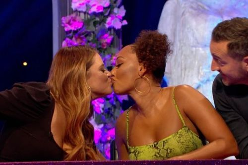 Celebrity Juice - Emily Atack and Mel B pack on PDA as they enjoy steamy smooch