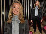 Tamzin Outhwaite is chic in a satin suit as she attends the Vanity Fair BAFTA Rising Star Party
