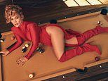 Jennifer Lopez, 51, puts on a VERY leggy display as she sprawls across a pool table in a red gown