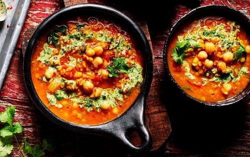 Lemony spiced lentil and chickpea soup with coriander dressing recipe