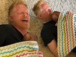 Jesse Tyler Ferguson riffs on a classic musical number while his newborn son rests on his chest