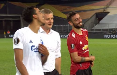 Ole Gunnar Solskjaer mocks Bruno Fernandes after Manchester United's win over FC Copenhagen