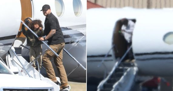 Kanye West boards private jet with son Saint West in Wyoming after reunion with Kim Kardashian