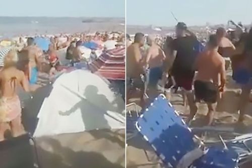 Massive beach brawl after sunbather asks youngsters to turn music down