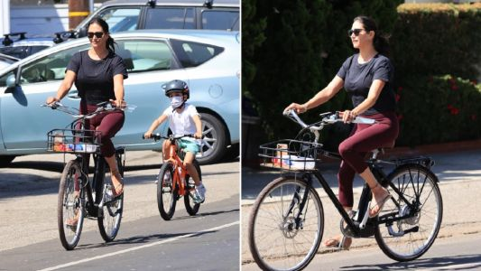 Lauren Silverman seen enjoying bike ride hours before Simon Cowell was hospitalised with 'broken back'
