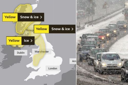 UK weather forecast: Ice and up to 6ins of snow threaten travel chaos for commuters