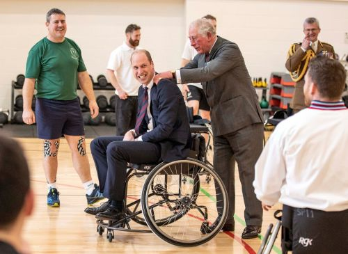 Prince Charles has to step in when Prince William misses basketball hoop