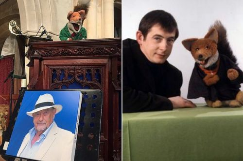 Basil Brush reads heartfelt eulogy to 'Mr Derek' Derek Fowlds at funeral