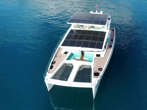 This $3.3 million yacht is powered by solar panels that allow it to cruise around forever without refueling - see inside