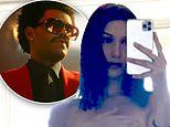 Bella Hadid flaunts her frame while posing topless. as The Weeknd releases new music video