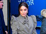 Vanessa Hudgens promotes Bad Boys For Life in ruffled blouse and leopard print dress