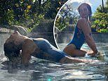 Rita Ora puts on an eye-popping display in clinging cut-out swimsuit
