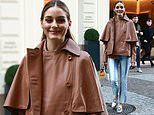 Olivia Palermo is effortlessly chic in a leather caped jacket amid Milan Fashion Week
