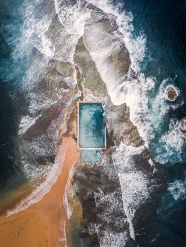 Stunning drone pic of rock swimming pool in Australia wins water themed photography comp