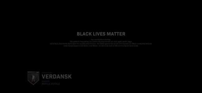 Call Of Duty shows Black Lives Matter message before every match