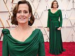 Sigourney Weaver, 70, wows in emerald green gown during the 92nd Academy Awards