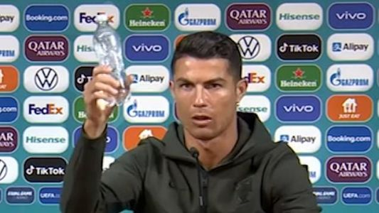 Cristiano Ronaldo refuses to have Coca Cola bottles in interview as he shouts 'drink water!'