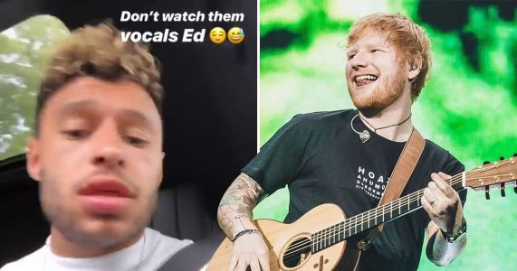 Alex Oxlade-Chamberlain gives Ed Sheeran a run for his money as he shows off his singing skills