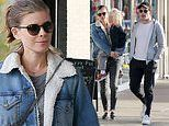 Kate Mara and Jamie Bell are the picture of domestic bliss as they grab coffee with his young son