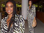 Gabrielle Union wows in plunging zebra printed dress for dinner in Beverly Hills