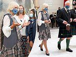 Prince Charles and the Duchess of Cornwall wear full tartan in Aberdeen Art Gallery