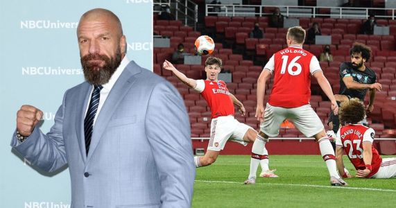 Arsenal come out to WWE legend Triple H's theme song during Liverpool win
