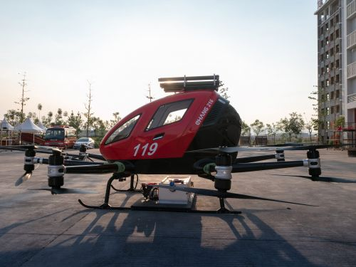 EHang has developed a firefighting autonomous flying vehicle for high-rise fires in dense cities - see how it works