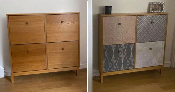 Woman transforms cabinet into vibrant shoe storage unit using wallpaper samples