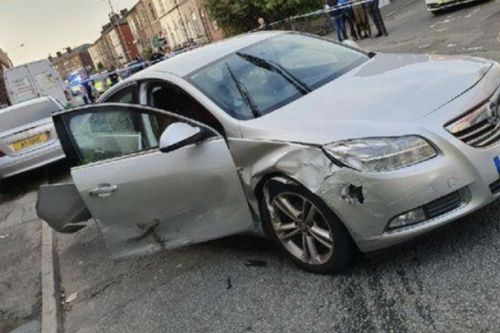 Danger driver rams stolen car into cops in 90mph chase through residential streets