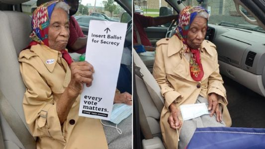 Woman, 102, braves Covid to go and cast election vote against Donald Trump