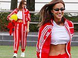 Irina Shayk flashes her fab abs in cropped top as she dresses in Adidas from tip to toe in NYC park