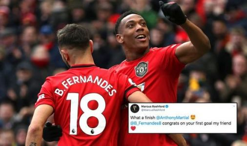 Man Utd ace Marcus Rashford sends message to Bruno Fernandes and Anthony Martial after win