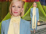 Cate Blanchett stuns in a power blue co-ord and yellow scarf as she attends the Roksanda LFW show