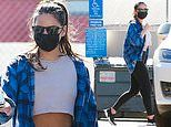 Olivia Munn oozes California cool in ab-baring crop top and flannel shirt