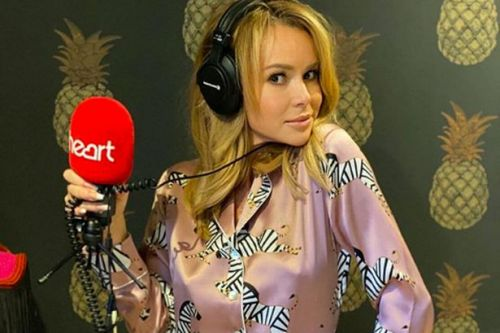 Amanda Holden in full make-up and silk PJs as she hosts radio show from home