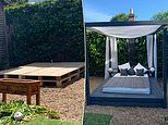 Woman creates giant waterproof bed for her garden using old pallets for only £70