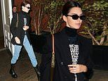 Kendall Jenner cuts a chic figure in turtleneck paired with blazer and jeans as she leaves her hotel