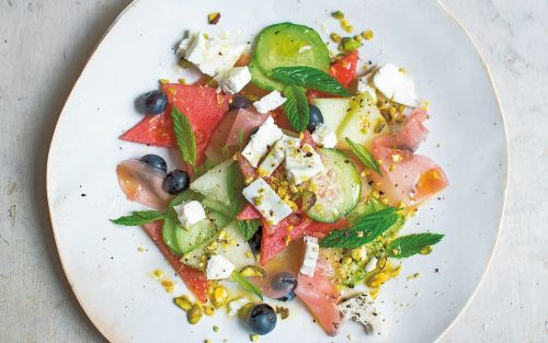 Melon, blueberry and feta salad with ginger and mint recipe